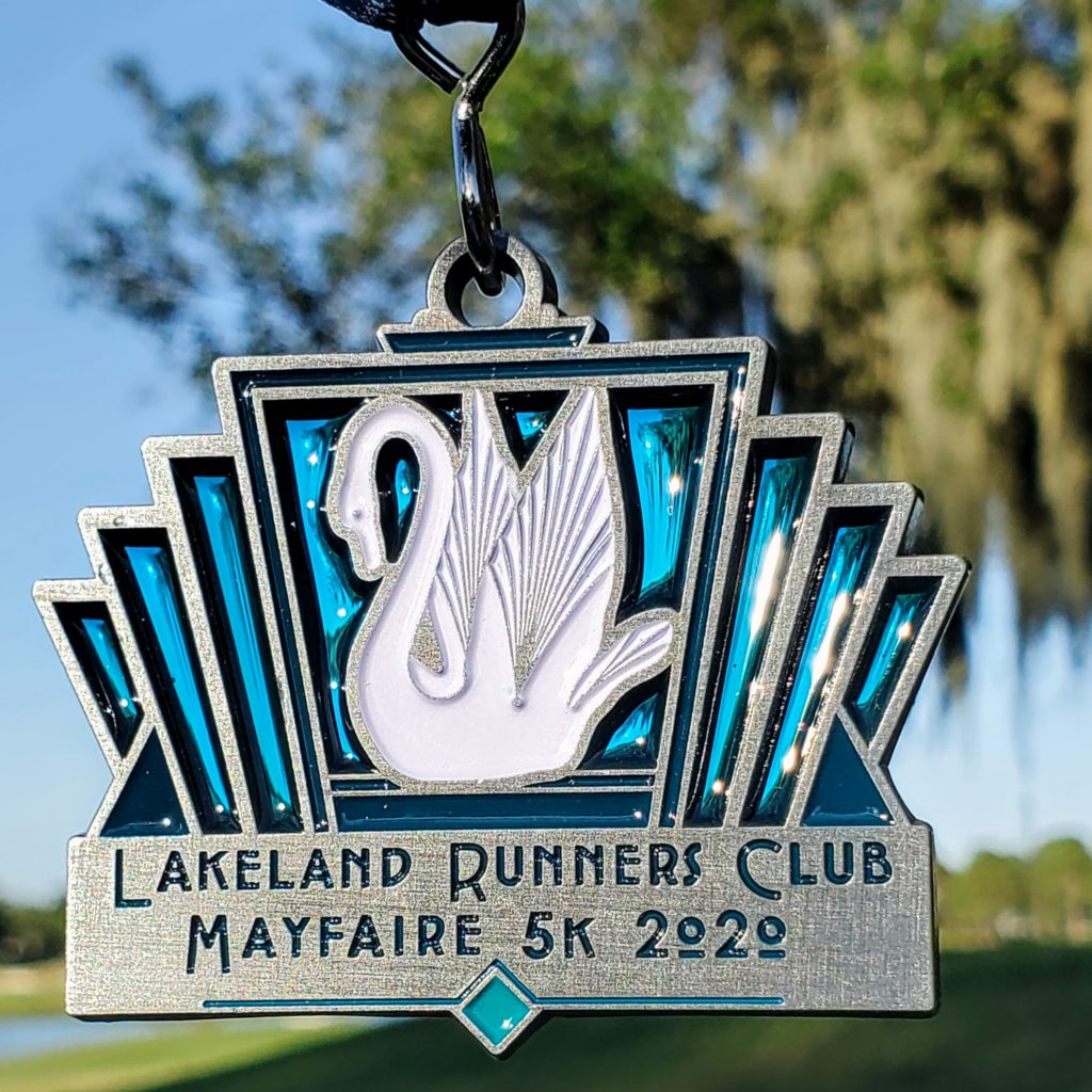 2020 Mayfaire 5k Medal — swan with translucent glass