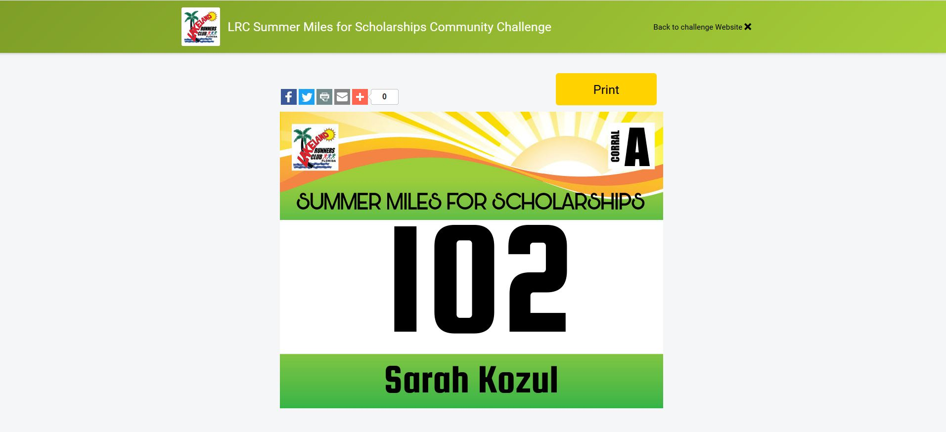 Summer Challenge - Race Bib